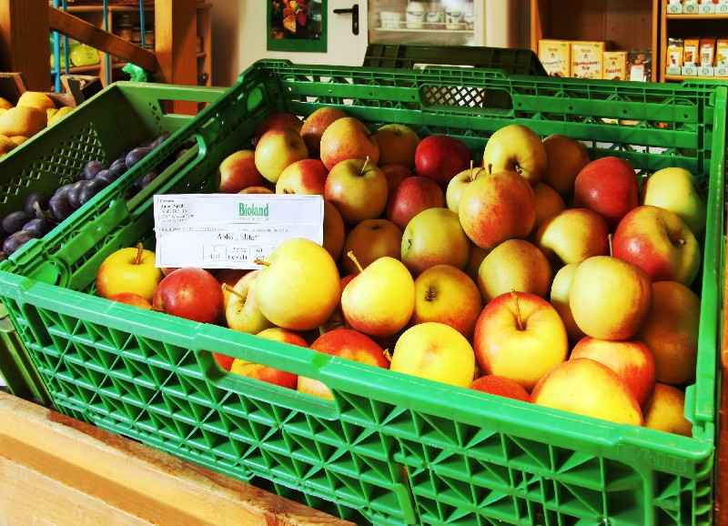 Obst und Gemüse aus eigenem Anbau sowie ein komplettes Naturkostsortiment